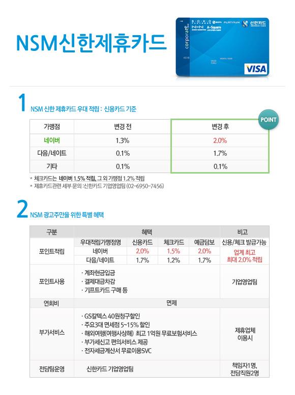 NSM 신한 제휴카드 우대 적립 혜택: 신용카드 기준(네이버 1.3%에서 2.0%) 2. NSM 광고주만을 위한 특별 혜택